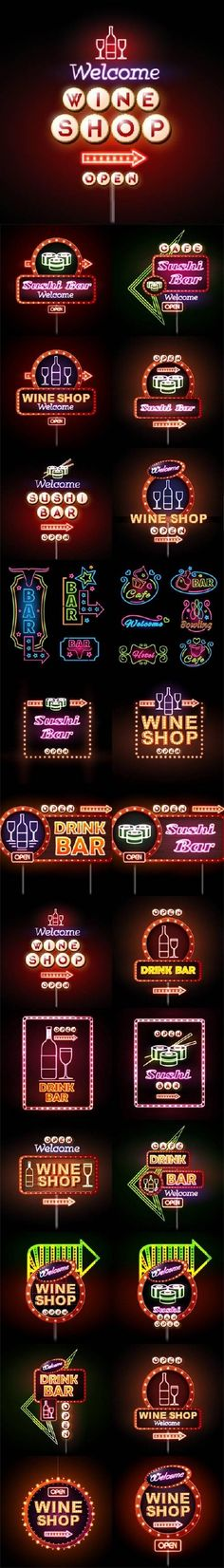 Neon advertising signs bar drink and sushi