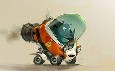 Cartoon Rhinos always drive Rocket Cars by Mike Yamada