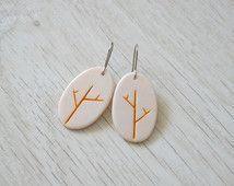 Pendientes de arcilla polimérica con motivos \ cerámica de imitación naturales