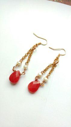 Radice di rubino e perle di fiume, beautiful earrings