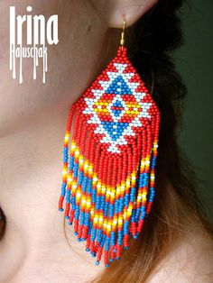 Native american style earrings, native style earrings, beaded earrings, seed bead earrings, modern e Native Beading Patterns, Beadwork Designs, Seed Bead Patterns, Native Beadwork, Native American Beadwork, Loom Patterns, Jewelry Patterns, Seed Bead Jewelry, Seed Bead Earrings
