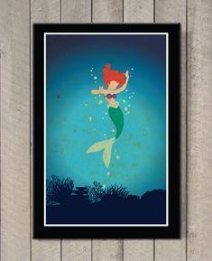 Vintage Disney movie poster The Little Mermaid by MINIMALISTPRINTS