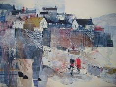 LOW TIDE AT CADGWITH FISHING VILLAGE BY NAGIB KARSAN. The world transformed into a semi abstract painting filled with an abundance of color and flat planes!! #buildings #art SEE MORE ART NOW www.richard-neuman-artist.com