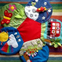 Make your own sensory baby mat with lots of tactile fabrics.
