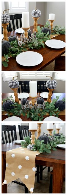 Fall Farmhouse Table Gray And White With Natural Wood And Greenery Makes For A Beautiful Fall Table. Bit by bit On How We Put It All Together. Thanksgiving Diy, Thanksgiving Decorations, Seasonal Decor, Table Decorations, Holiday Decor, Farmhouse Table Centerpieces, Diy Farmhouse Table, Farmhouse Plans, Modern Farmhouse