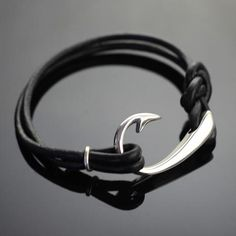 $185-Sterling Silver Large Hook bracelet on thick leather cord, perfect for everyday wear!