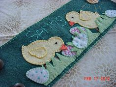 Spring Easter Penny Rug Style Wool Felt Chick by KeepsakeKorner, $8.99 This is one of my new designs.