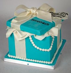 Open Tiffany Box cake with 'tissue