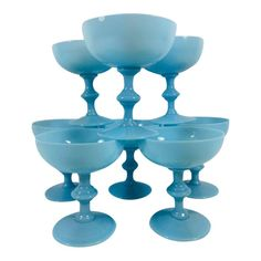e09f3aef3518 Vintage Portieux Vallerysthal Turquoise Champagne Glasses - Set of 8