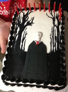 Slenderman cake we made for our 12 yr olds B-Day!