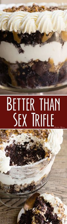 Better Than Sex Trifle recipe.  This recipe is to die for! Ooey gooey deliciousness that's easy to make. #BetterThanSex #Trifle