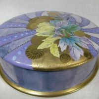 "b840: UNICA 8½"" Handpainted Signed Cake Box LIMOGES **MARKED DOWN * SALE**"