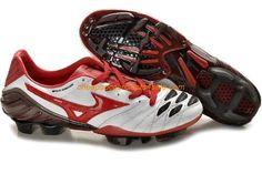 Mizuno Wave Ignitus K-Leather FG Firm Ground Cheap Mizuno Soccer Cleats White Red Black