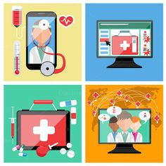 Set of Online Doctor Concepts by robuart on Creative Market