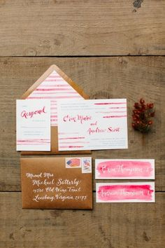 Watercolour wedding invitations by Just Write Studios