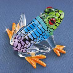Glass Baron Small Island Hopper Frog Glass Figurine
