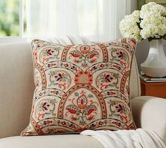 Harland Print Pillow Cover #potterybarn 24 inch square; washable; cotton linen blend.