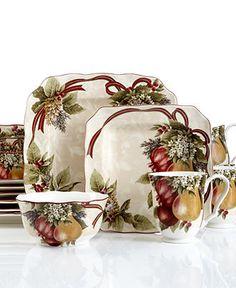 222 Fifth Dinnerware, Yuletide Celebration 16 Piece Set - Holiday Entertaining - Holiday Lane - Macy's