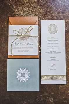 Gorgeous menu and invitation for boho glam styled shoot, photos by Lindsey Gomes Photography | via junebugweddings.com
