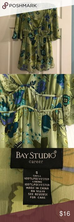Bay Studio Flowy Floral Tunic EUC preloved floral tunic is absolutely beautiful with a pair of navy or khaki pants for work. Or you can even throw it on with a pair of dark wash jeans for a casual night out. Sheer fabric comes with a coordinating cami underneath and the piping on the cummerbund ties in the back. (Can post a pick upon request). I love this one, but it's been neglected with all of my new treasures I've found since I've been on Posh! All my items come from a smoke free 🚭home…