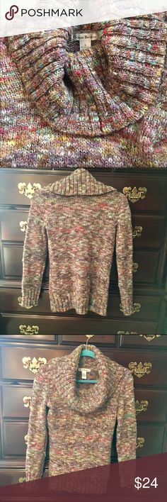 Cowel Neck Sweater by Susan Bristol NWOT multicolor (tan, blue, pink, purple, green, and yellow yarn) knit cowel neck sweater. 🎀 New condition, from a home with no smoke or pet odors. 🎀 Please feel free to make an offer, or bundle for 20% off! Susan Bristol Sweaters Cowl & Turtlenecks