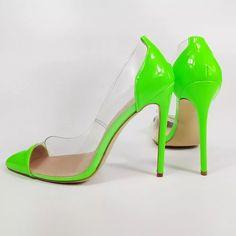 Brand Name:Dipsloot Pump Type:Basic Heel Type:Thin Heels Origin:CN(Origin) Upper Material:PVC Heel Height: Neon Pumps, Pump Types, Orange Leather, High Heels Stilettos, Toe Shape, Red Shoes, Leather Pumps, Blue Green, Slip On