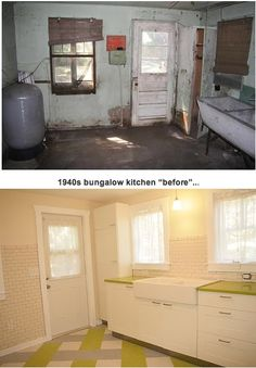 Amazing kitchen transformation from 1930's dilapidated to retro-chic. See this and so much more from this awesome site: retro renovation (http://retrorenovation.com)