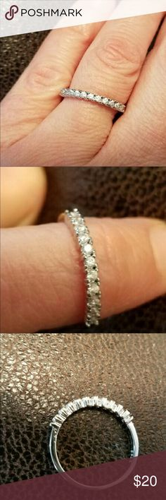 CZ anniversary band sterling silver Size 8 anniversary band with CZ diamonds, bought off here , didn't fit .. Jewelry Rings