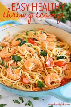 This Easy Healthy Shrimp Scampi is a delicious and healthy weeknight meat featuring fresh shrimp, pasta and veggies in a light-tasting garlic cream sauce! Healthy Weeknight Meals, Healthy Snacks, Healthy Eating, Healthy Recipes, Seafood Recipes, Pasta Recipes, Linguine Recipes, Dinner Recipes, Shellfish Recipes