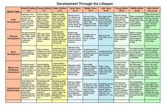 table and summarize the physical, cognitive, personal, and social development…