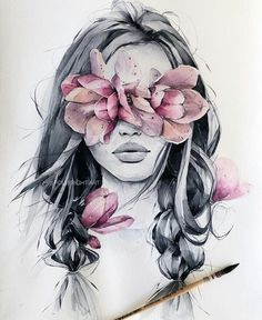 bright⠀ ⠀⠀⠀⠀⠀⠀⠀⠀⠀⠀ - Art Tutorial and Ideas Art And Illustration, Watercolor Illustration, Girl Illustrations, Watercolor Portraits, Watercolor Paintings, Art Paintings, Watercolor Quote, Watercolor Artists, Watercolor Drawing
