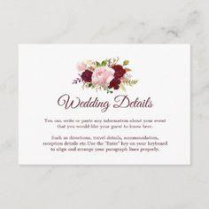 Burgundy Marsala Floral Wedding Invitation Card | Zazzle.com Burgundy Wedding Invitations, Cheap Wedding Invitations, Wedding Invitation Cards, Zazzle Invitations, Invites, Party Invitations, Wedding Stationery, Wedding Rsvp, Blue Wedding
