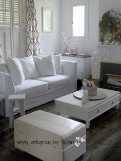 All White Living Room Makeover