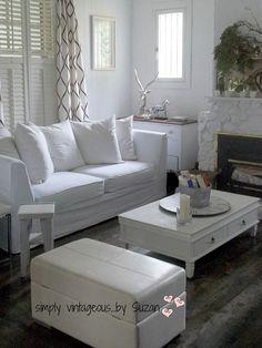 All White Living Room Makeover