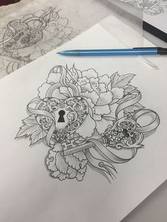 Girly key and locket peony tattoo design by Susie Humphrey