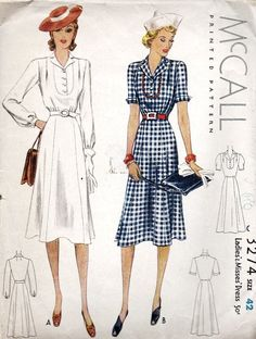 McCall 3274 | ca. 1939 Ladies' & Misses' Dress. Skirt length up from mid-calf to 'just below the knee'.