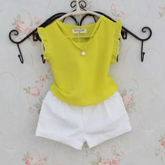 Flutter-sleeve Hollow Out T Shirt And Shorts Cute Little Girl Dresses, Dresses Kids Girl, Kids Outfits, Summer Outfits, Smocked Baby Clothes, Kids Dress Wear, Baby Dress Design, Handmade Baby Clothes, Kids Frocks Design