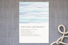 beach, beachy, clean, coastal, eco-friendly, horizon, linda and harriett, modern, ocean, painted, simple, stationary, stripes, watercolor, wedding invitations