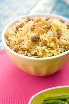 ... rice dish made with saffron, dried fruit, and nuts. #saffronrice #