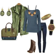 """""""Green, Blue, & Brown"""" by stigro on Polyvore"""