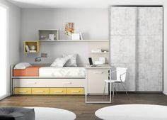 Kids Touch 23 dormitorio juvenil Juvenil Camas Compactas y Nidos Cama nido con cama de arrastre, con escritorio, estanterías y armario.