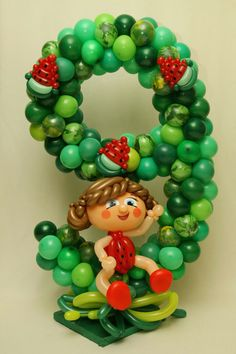 Ballon Decorations, Birthday Decorations, Number Balloons, Balloon Columns, Birthday Balloons, Ornament Wreath, Girl Dolls, Numbers, Sculptures