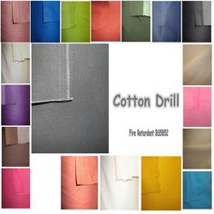 Fire Retardant  Resistant Cotton Drill Fabric Curtain Cushions Craft Upholstery