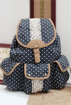 Study Hall Whispers Polka Dot and Lace Canvas Backpack in Navy