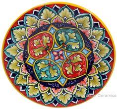 italian+plates+ceramics | Ceramic Majolica Plate GEO Green Red 15cm