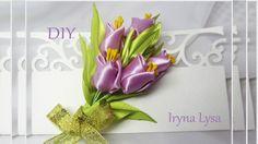 ♡ МК: Букет канзаші тюльпани/Тюльпаны канзаши/Kanzashi Flowers tulip/tut...