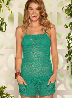 #Crochet #jumper in mint green, with front pockets and drawstring waist by BECCA by Rebecca Virtue Swimwear, $72.00