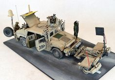 M1114 Armored Humvee in Iraq scale    : 1:35  Author  : Jim Wechsler at Track-Link Model Kit Bronco M1114 Uparmored Humvee conversion and add-on sets. CROWS II weapon system : resin set from Blast Models Spark Mine roller : resin set from Blast Models. Jammers : The Chameleon from Voyager Models, The Rhino from Legends, the Warlock Duke resin set from Voyager. Talon EOD Robot : kit from AFV Club Figures : CROWS II operators from Legends, The robot controller from Blackdog, and the bomb suit…