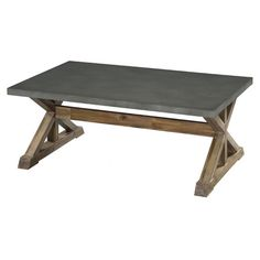Add a rustic touch to your living room or den with this eye-catching coffee table, showcasing a trestle base and zinc top.  Product:...