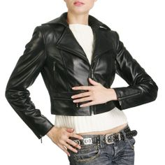 The lambskin leather cropped jacket comes in two tones, black and white. This product have excellent quality, and you won't regret it.